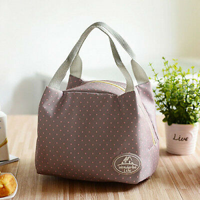 Brown Dot Portable Thermal Insulated Travel Picnic Lunch Bag Handbag Carry Tote