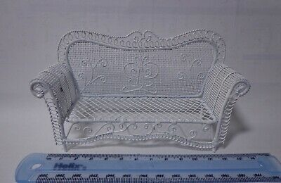 1.12 Scale White Garden Sofa  Doll House Miniature Garden Accessory Feature,