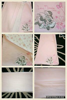 Baby girls pram/moses basket cellular blanket sheets and minnie mouse fleece