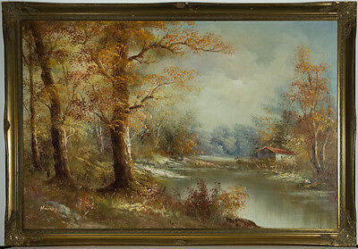 Large Contemporary Oil - River Scene