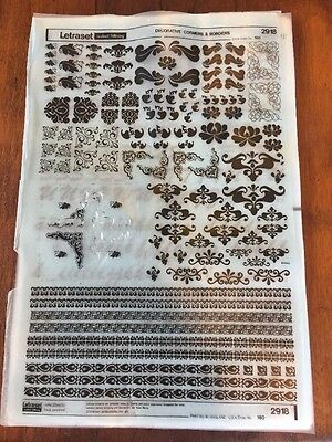 LETRASET Rub on Letter Transfer Decorative Corners And Borders 2918