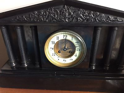 Working Antique Victorian Slate Clock