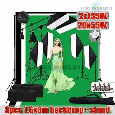6850W Photo Studio Softbox Lighting Soft Box Boom Light 3pcs Backdrop Stand Kit