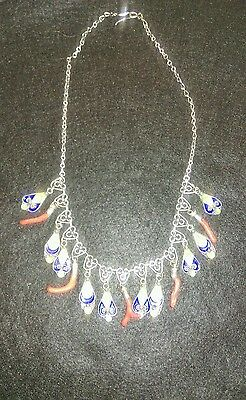 Vintage Kabylie silver, enamel and coral necklace