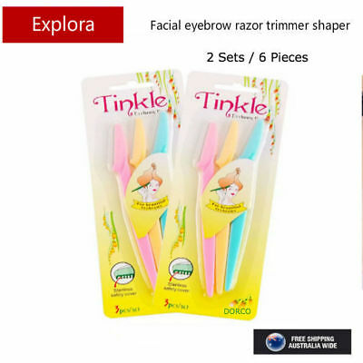 6 Pieces Tinkle Facial Eyebrow Razor Hair Trimmer Shaver Remover Blade Knife