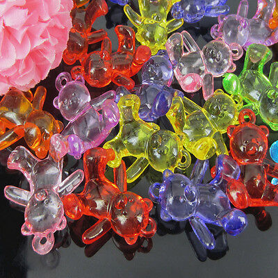 24/48/96 Mixed Acrylic Teddy Bear Charm Pendants For Baby Decoration 28 x 44mm