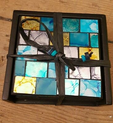 Handmade Glass Drink Coasters with Turquoise/Gold Colour Mosaic Tiles - Set of 4