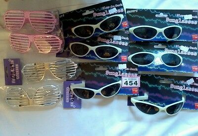 10 FANCY DRESS GLASSES GLOW IN DARK/SILVER/PINK photo booth new