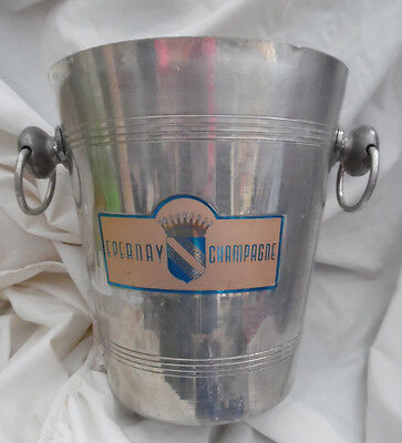 Vintage metal champagne ice bucket - shabby chic Epernay France