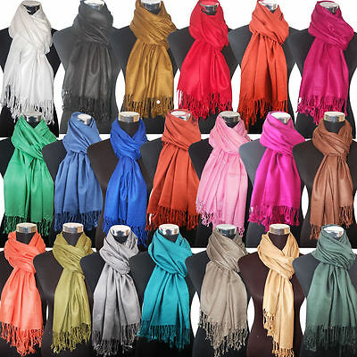 Fashion Women's Silk Style Solid Long Pashmina Shawl Wrap Scarf cashmere