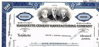 Stock Certificate: MARQUETTE CEMENT MANUFACTURING CO, 1968
