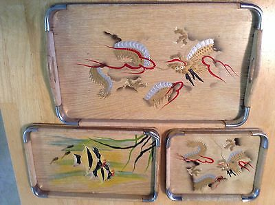 Asian Wooden Tea Tray Set From Japan