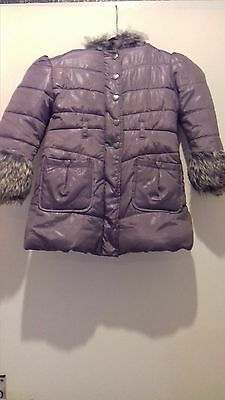 Girls Brown Quilted Coat Fleece Lined   - Age 3 Excellent Condition Fur Hood