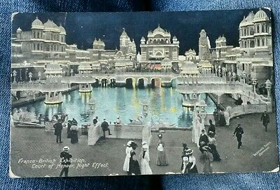 Franco-British Exhibition, Court of Honour, Night Effect. Postcard Dated 1908