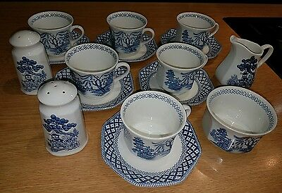 royal staffordshire tea cups willow ironstone J&G Meakin