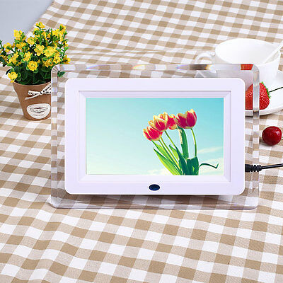 7'' inch HD Digital Photo Picture Frame Alarm Clock MP3/4 Player +Remote US