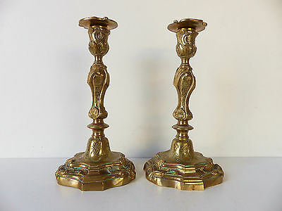 SUPERB PAIR of ANTIQUE FRENCH LOUIS XV BRONZE CANDLESTICKS late 18th early 19thC