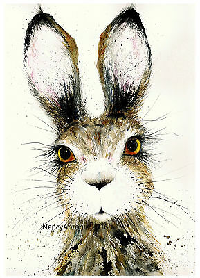Print of Original Watercolour Painting 'Cute Hare' Nancy Antoni #gift #present