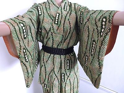 Vintage authentic green silk Japanese kimono for women, Japan import (H702)