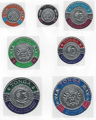 Tonga MNH Full set of 14 Palladium coin stamps coronation 1967 mounts excluded