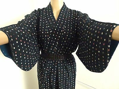 Authentic vintage Japanese navy blue silk kimono for women, Japan import (H703)