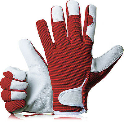 GardenersDream Ladies / Mens Slim Fit Leather Gardening Work Gloves - Red