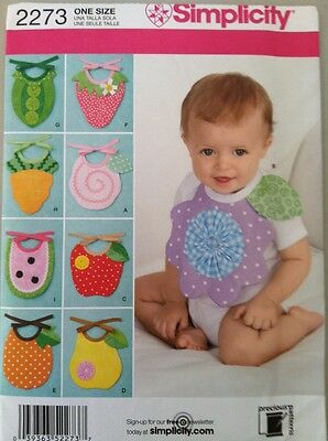 Simplicity Sewing Pattern 2273 Adorable Baby Bibs  New