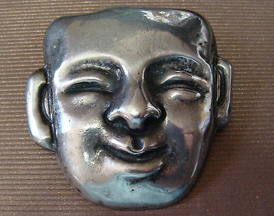 "1930s 40s OLDER ART DECO ERA  MEXICO STERLING SILVER HEAD FACE 2"" PIN BROOCH"