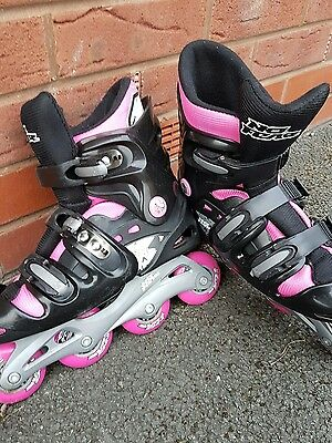 Ladies no fear pink and black roller blades adjustable adult size 5-8