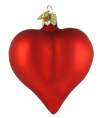 Old World Christmas Large Matte Red Heart Glass Blown Ornament
