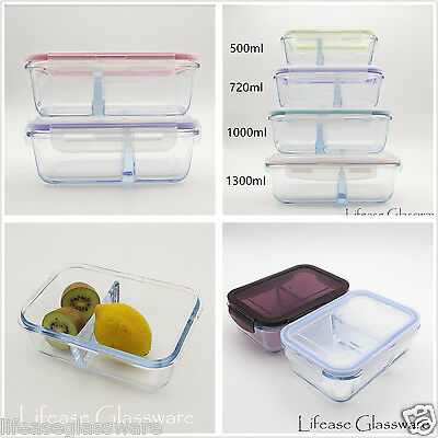 Airtight Pyrex Glass Food Storage Container W. Divider Compartments Lunch Boxes