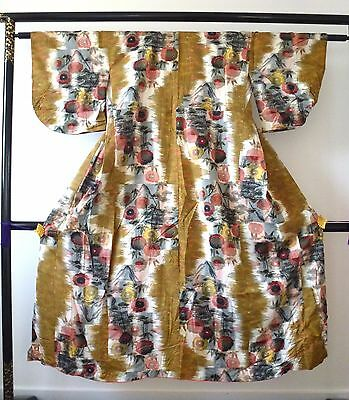 Authentic Japanese silk kimono for women, mixed colours, poor condition (J705)