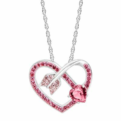 Crystaluxe Arrow Heart Pendant with Pink Swarovski Crystals in Sterling Silver