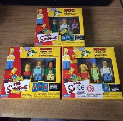 The Simpsons Blocko Collectable Figures Complete Triple Set - NEW - BNIB