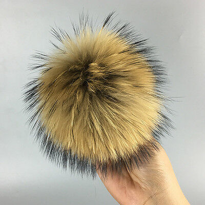 Newest Unique Genuine Raccoon Fur Cap Hat Pom Ball for Leather Shoes Accessories