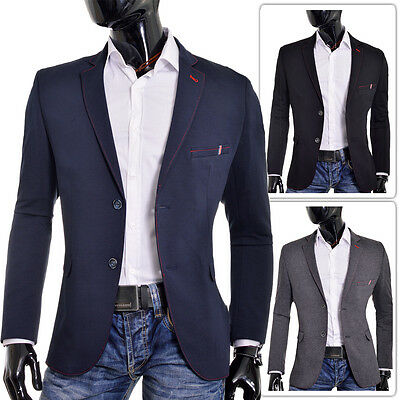 Blue Black Grey Mens Blazer Casual Look Slim Fit Two Buttons Contrast Stitching