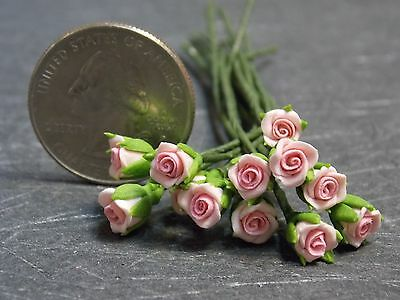 Dollhouse Miniature Pink Roses Flowers 1 Dozen 1:12 inch scale A2 Dollys Gallery