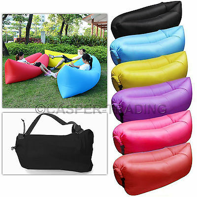 Lounger Inflatable Air Bed Chair Sofa Hangout Camping Holiday Beach Sleep Bag