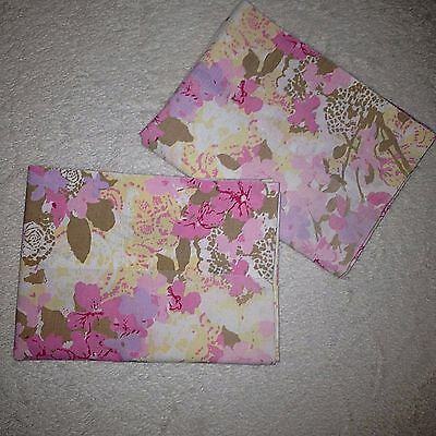 2 Vintage Pepperell Standard Miralux Pillowcases Floral Pink Tan Percale Set Mod