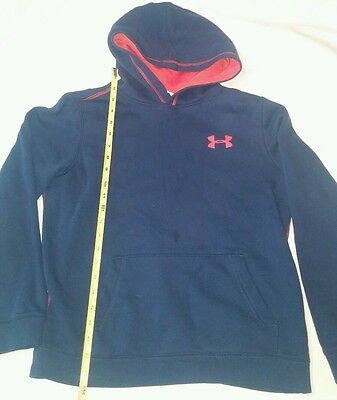 Under Armour Pull Over Hoodie Youth Large Kids  Navy Orange