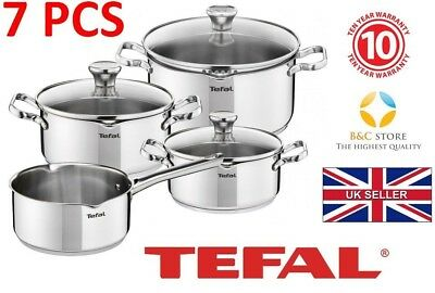 Tefal Duetto Stainless Steel Cookware Set 7 Pcs Glass Lid Pots Kitchen
