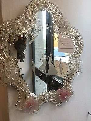 Antique Venetian Murano Glass Mirror Hand Etched