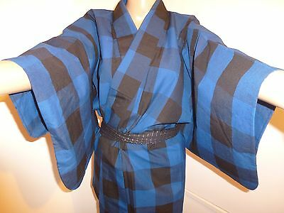 Authentic vintage Japanese blue & black wool kimono for women (J706)