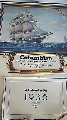 1936 Promotional Wall Calendar of Clipper Ship for Columbian Manila Rope Co