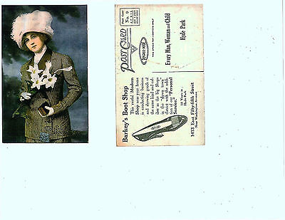 """Early 1900'S Advertising Postcard.  """"The Girl Of The Pingree Shoe.""""   Barkley'S"""