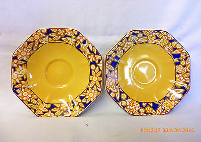 AUTHENTIC ART DECO. J. H. WEATHERBY ROYAL CROWNSFORD 2 Saucers Perfect Condition