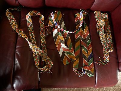 four Native American beaded belts and a head band- beautiful!