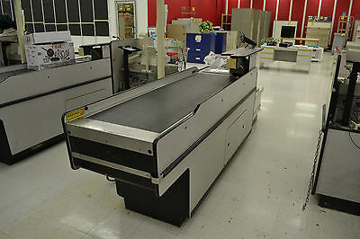 Grocery Store checkout conveyor counter motorized with turntable bagging area