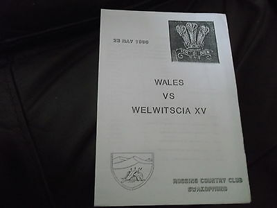 Rare Tour Of Namibia Welwitscia V Wales 29Th May 1990 Won 73-0 @ Rossing Club