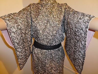 Vintage authentic silk Japanese kimono for women, black & white (K707)